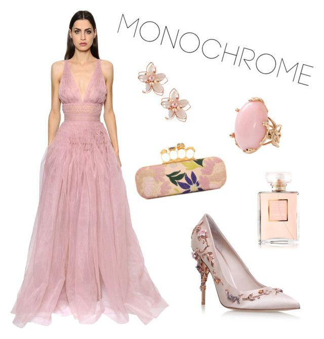 """Monochrome Pink (Contest)"" by lizzie-mg on Polyvore featuring Ermanno Scervino, RALPH & RUSSO, NAKAMOL, Lucifer Vir Honestus, Alexander McQueen and Chanel"