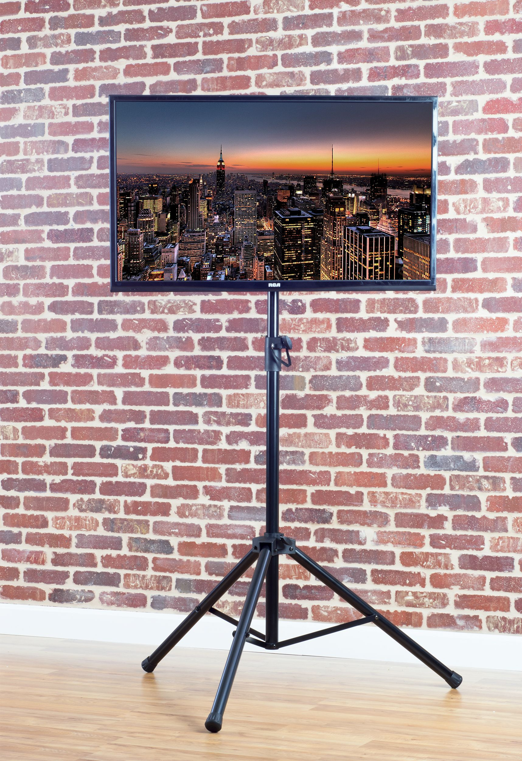black tripod tv display floor stand height adjustable mount for 32