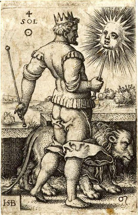 Photo Die 7 Planeten: Sol, Leo, Löwe. Tierkreiszeichen des Juli (Signs of the Zodiac July), 1520-1550. Hans Sebald Beham.