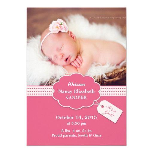 Newborn Baby Girl Announcement Card Zazzle Newborn Baby