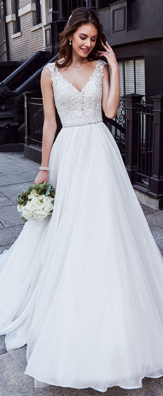 Charming Tüll Brautkleid Chiffon V-Ausschnitt Brautkleid Ausschnitt Natürliche Taille A-Linie Brautkleid Mit Perlen Spitze Appliques – New Ideas