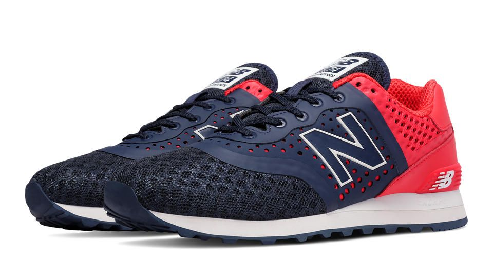 new balance 574 men's navy red