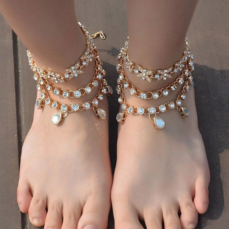 Tempest Jeweled Anklets Indian Wedding Anklet gold Foot Jewelry