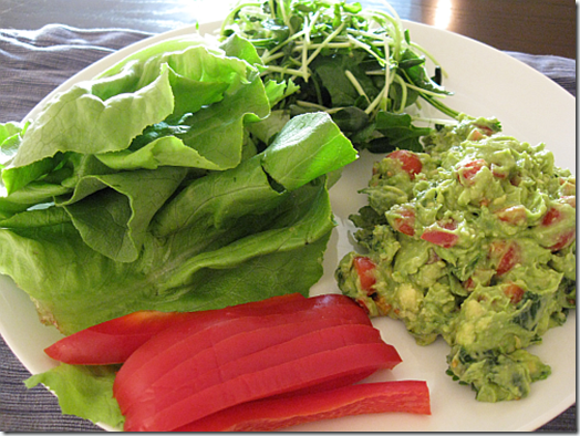 Guacamole *Avocado *Red pepper *Cherry tomatoes *Lemon/lime juice *Cilantro *Stevia or other sweetener