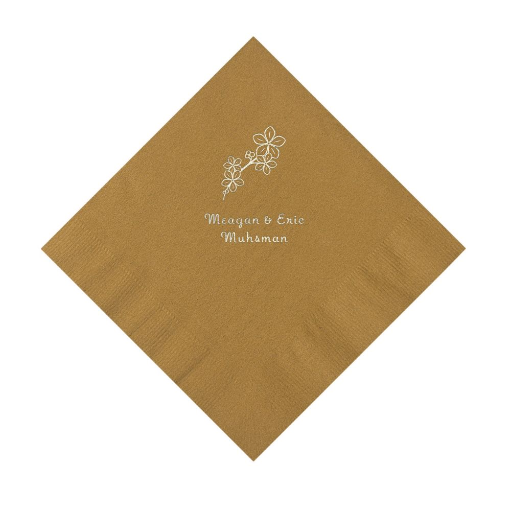 Gold Blossom Branch Personalized Napkins with Silver Ink - Luncheon