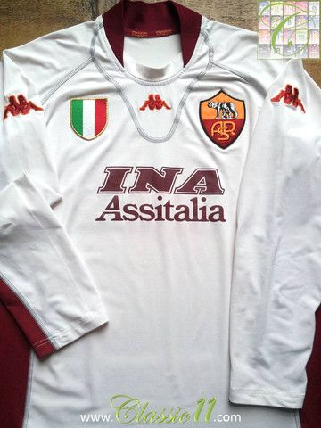 7f47a402ad2 Relive AS Roma's 2001/2002 season with this vintage Kappa Roma away long  sleeve football shirt.