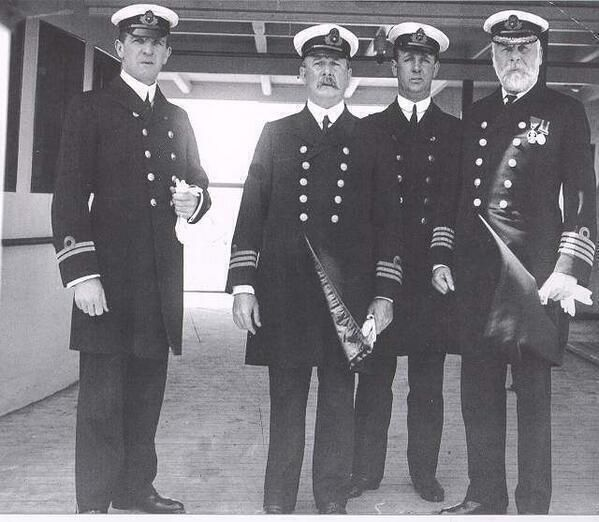 Crew of the Titanic. Captain is on the right.