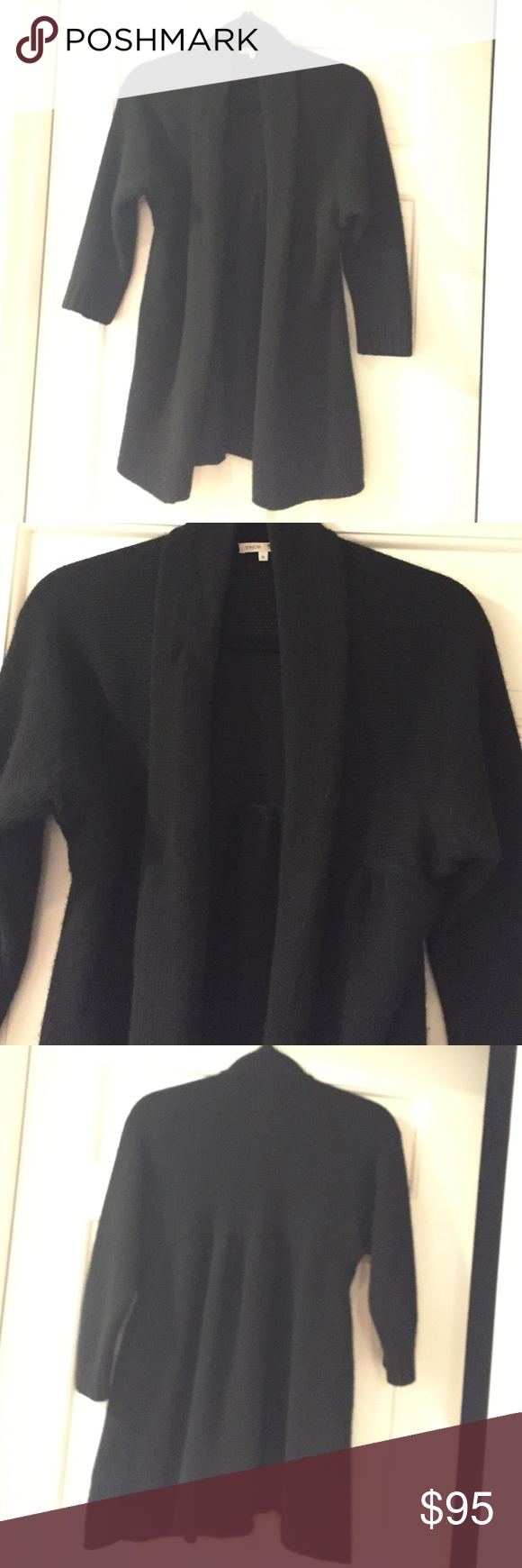 Vince Cashmere Cardigan Black, heavy cashmere. Very cute cut ...