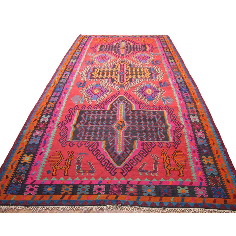 "Caucasian Kilim Rug: Caucasian Dagestan Avar Kilim 84"" X 163"" $1789"