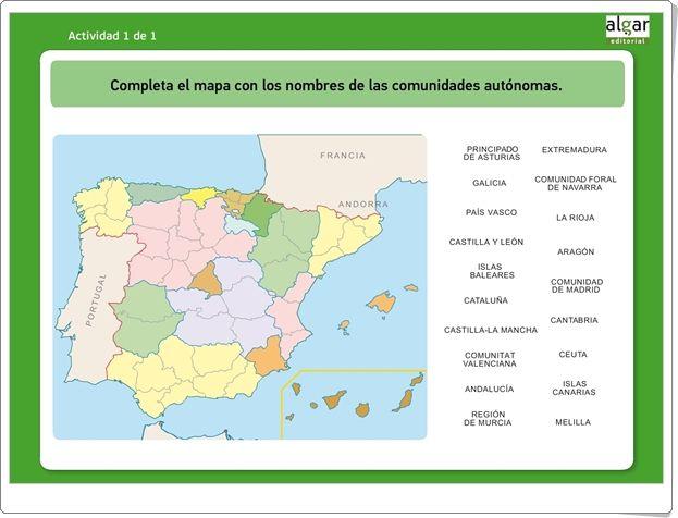 Completa El Mapa De Las Comunidades Autónomas Juego De Ciencias Sociales De Primaria Juegos De Ciencia Ciencias Sociales Día De La Constitución
