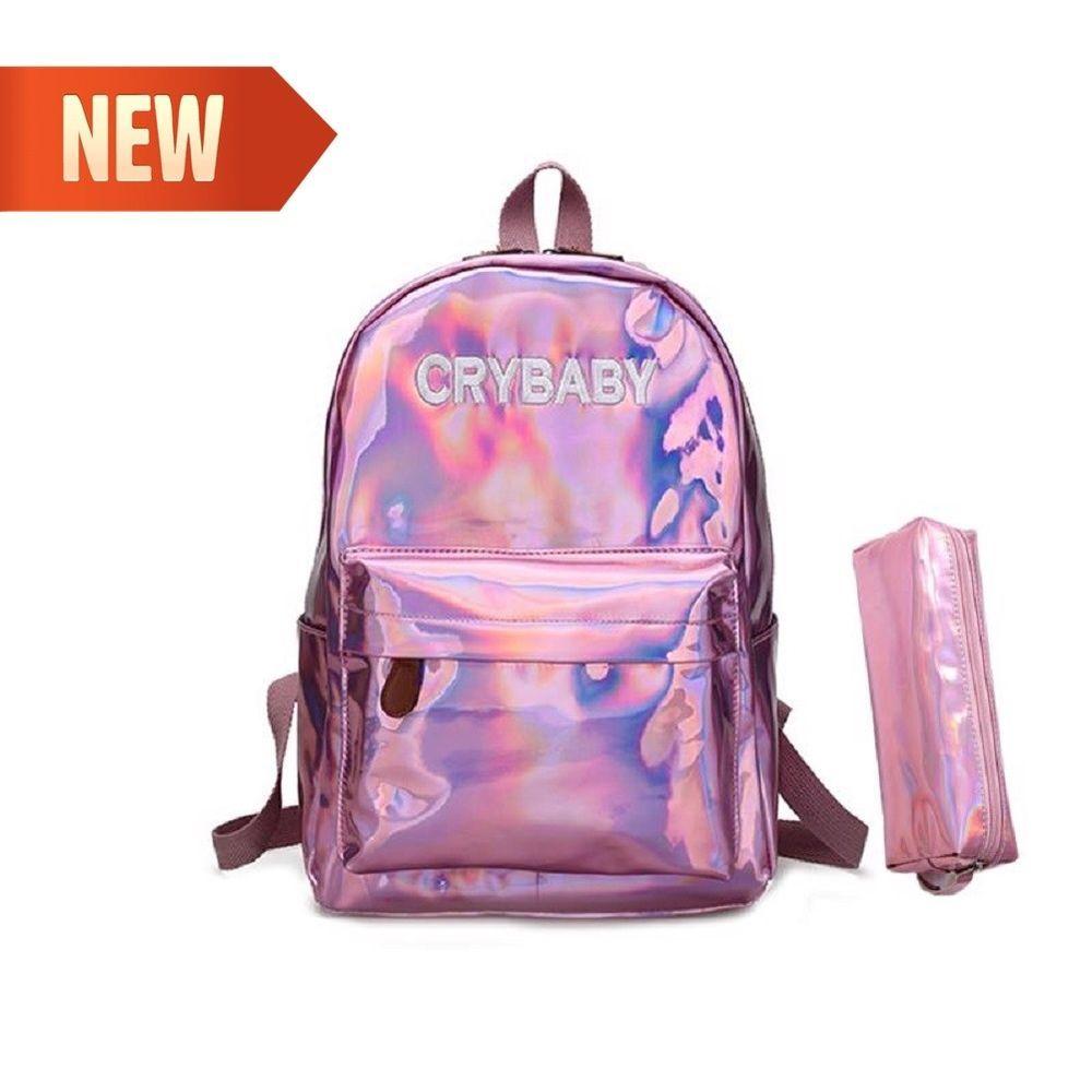 Women Girl Leather Hologram Bag Holographic Laser Backpack School Bookbag HOT
