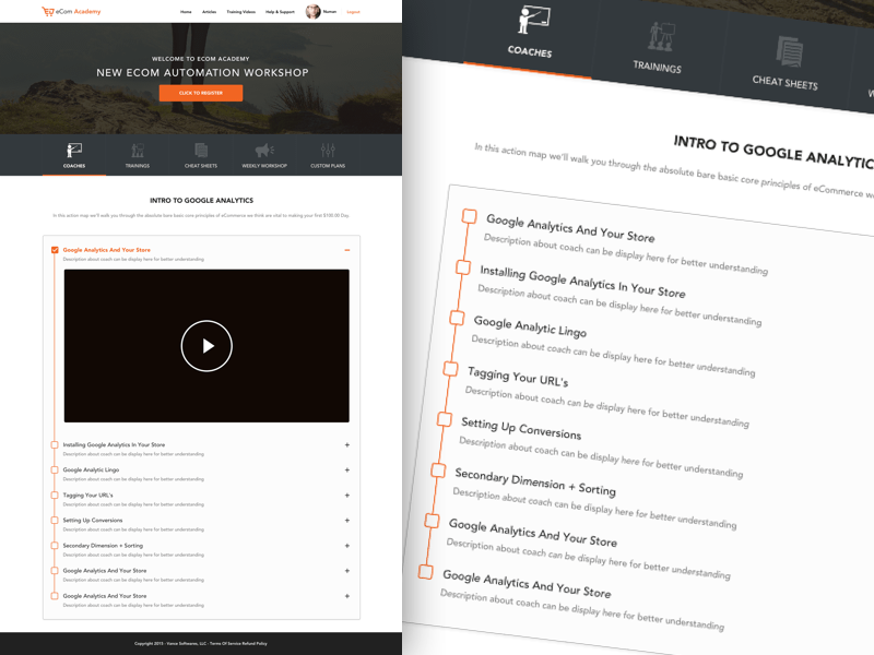 Ecom Academy Teaching Portal Homepage Design Sketch Freebie