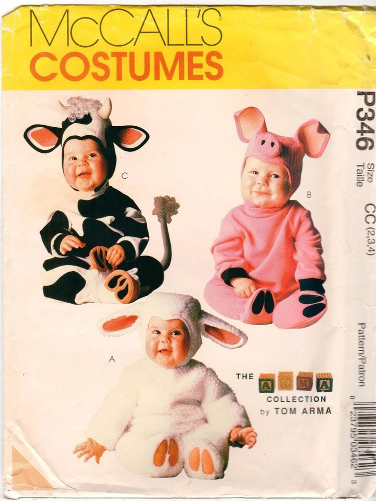 OOP Uncut McCalls 60 P60 Toddler Cow Pig And Sheep Costume Enchanting Toddler Halloween Costume Patterns
