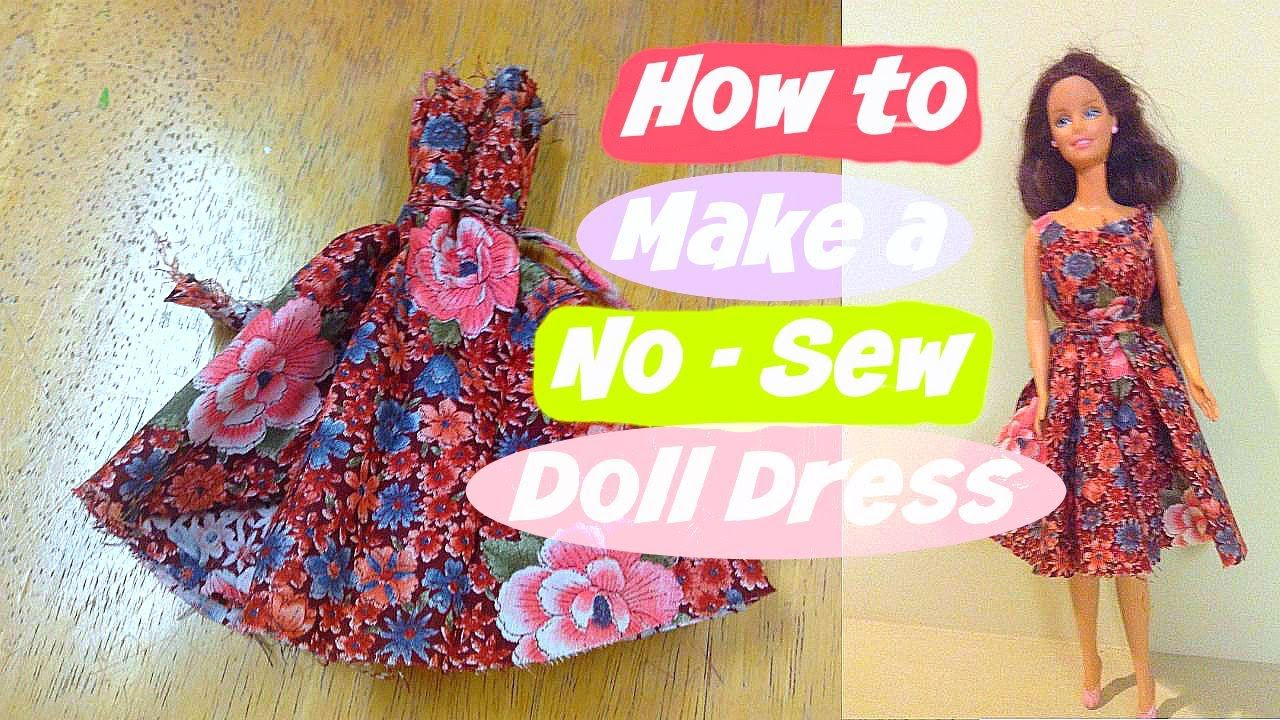 How to make a no-sew doll dress - good for kids to make simply. Can jazz up with finishes, if desired.