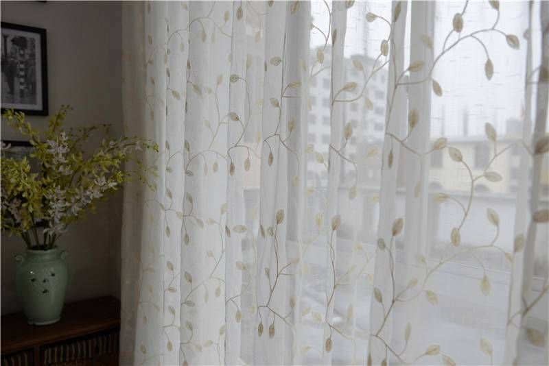 Sheer Curtains With Leaf Pattern Country Embroidered Leaves