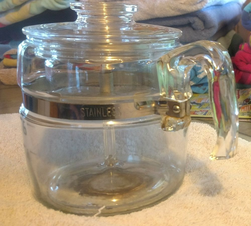 Vintage Pyrex Flameware 69 Cup Glass stove top Percolator