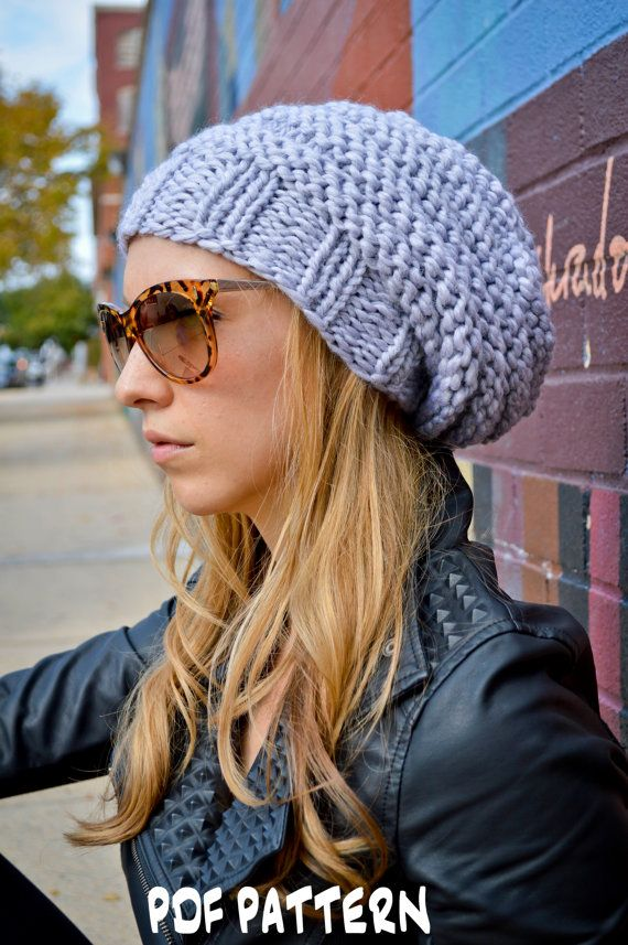 Knit Hat Pattern Knitting Pattern Hip Hive Beanie Knitted Slouchy
