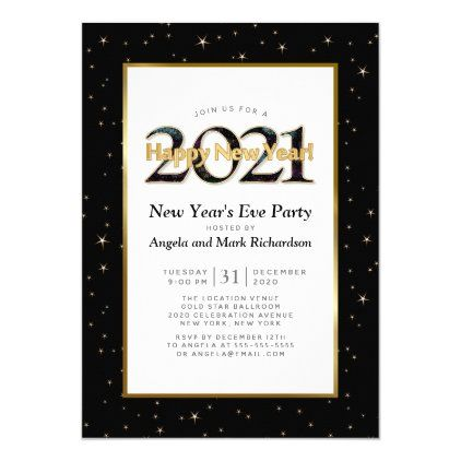 Gold Black Typography 2021 New Year's Eve Party Invitation | Zazzle.com in 2020 | Graduation ...