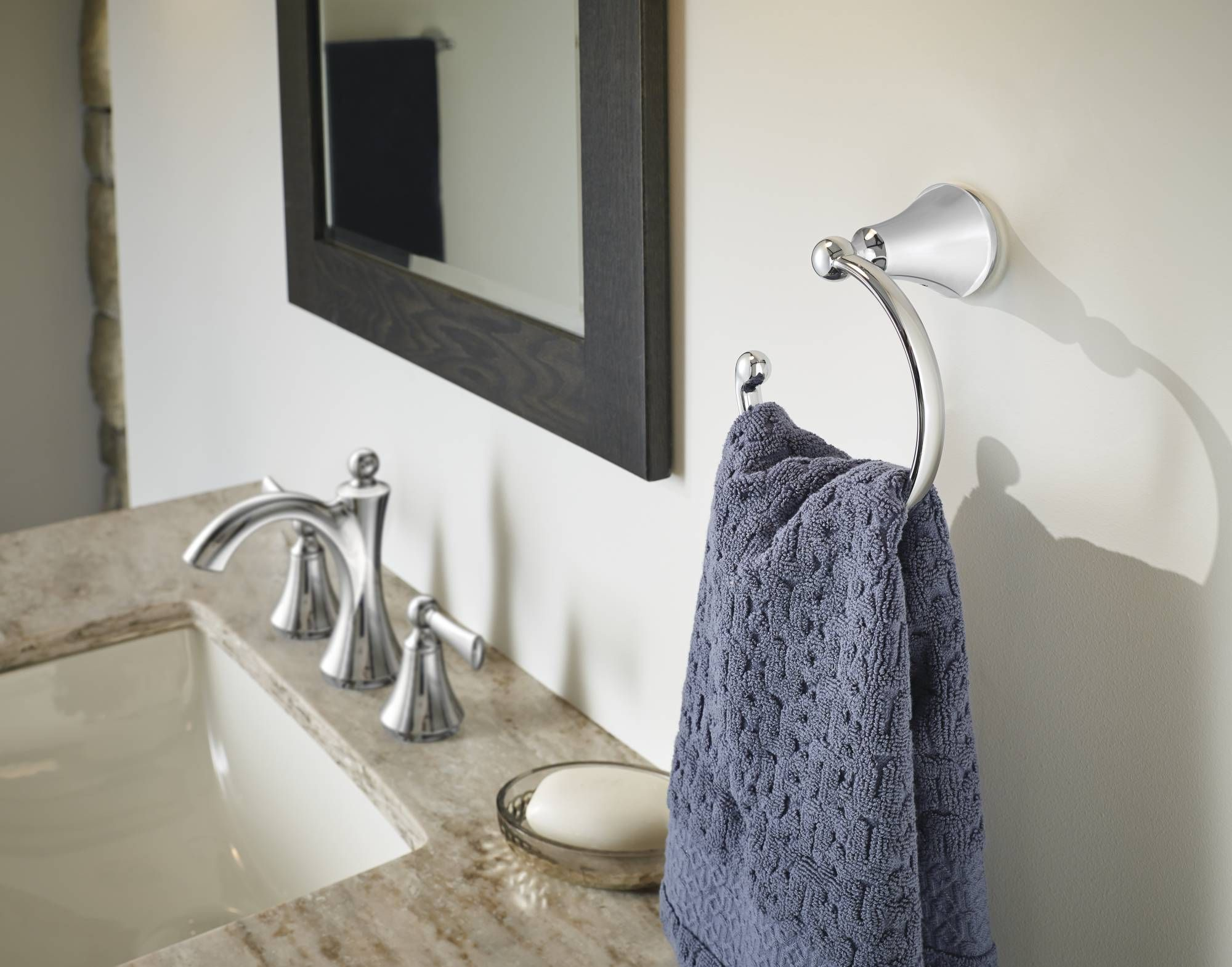 Wynford chrome two-handle bathroom faucet and towel ring | Home ...
