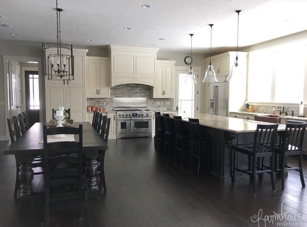 Farmhouse Kitchen Two Tone Distressed Cabinets Black And White Open Floor Plan Farmhouse Dining Tab Kitchen Design Inspire Me Home Decor Beautiful Kitchens