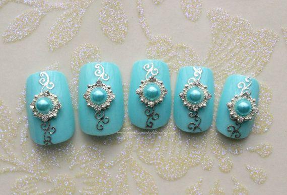 Something Blue. Wedding Bridal Fake Nails by NeverTooMuchGlitter