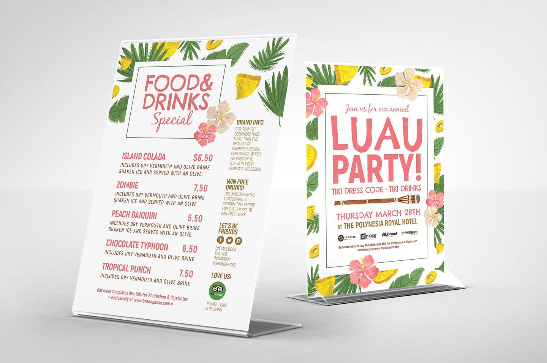 Luau Party Free Psd Flyer Menu Template Free Psd Flyer Luau Party Free Psd Flyer Templates