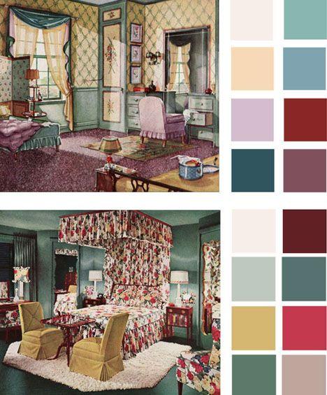 Vintage paint color palettes http://dornob.com/6-color-palettes ...