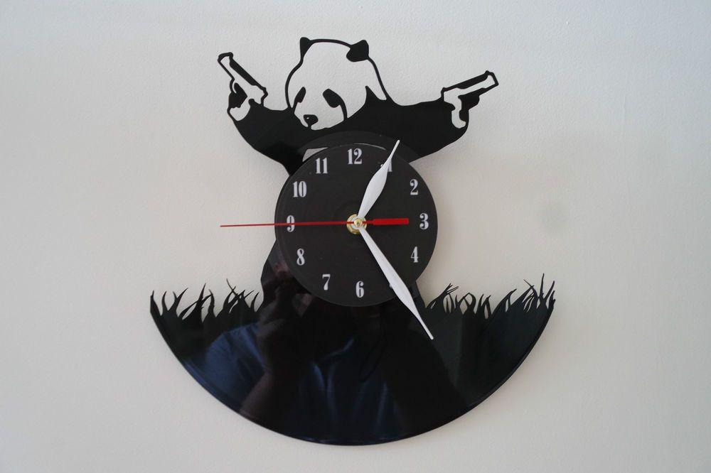 Schlafzimmer Ideen · Geschäfte · Armbanduhr · Panda Banksy Design Vinyl  Record Wall Clock Black Mat Sticker
