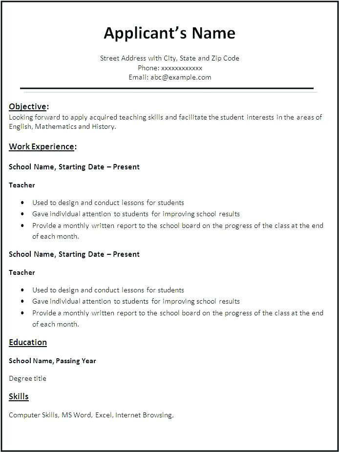 Resume Templates Copy And Paste #paste #resume ...