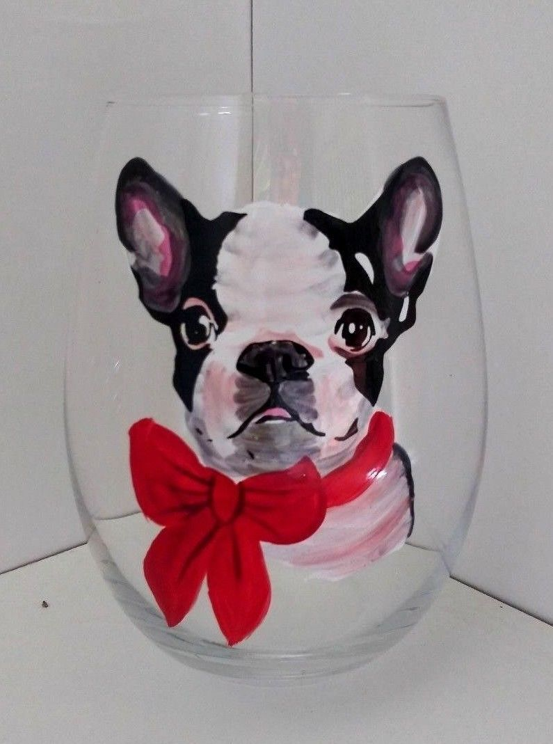 Stemless Wine Glass Boston Terrier Wearing A Red Bow Dog Lovers Barware 4 75 Wine Glass Ideas Of Wine Glass Wineglass Glass W Vintage Wine Glass
