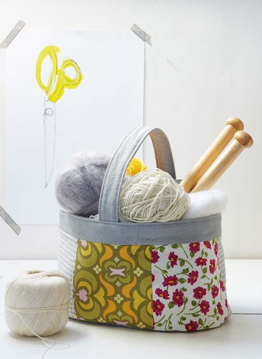 Sew A Knitting Basket Free Sewing Tutorial Pdf Template Pdf