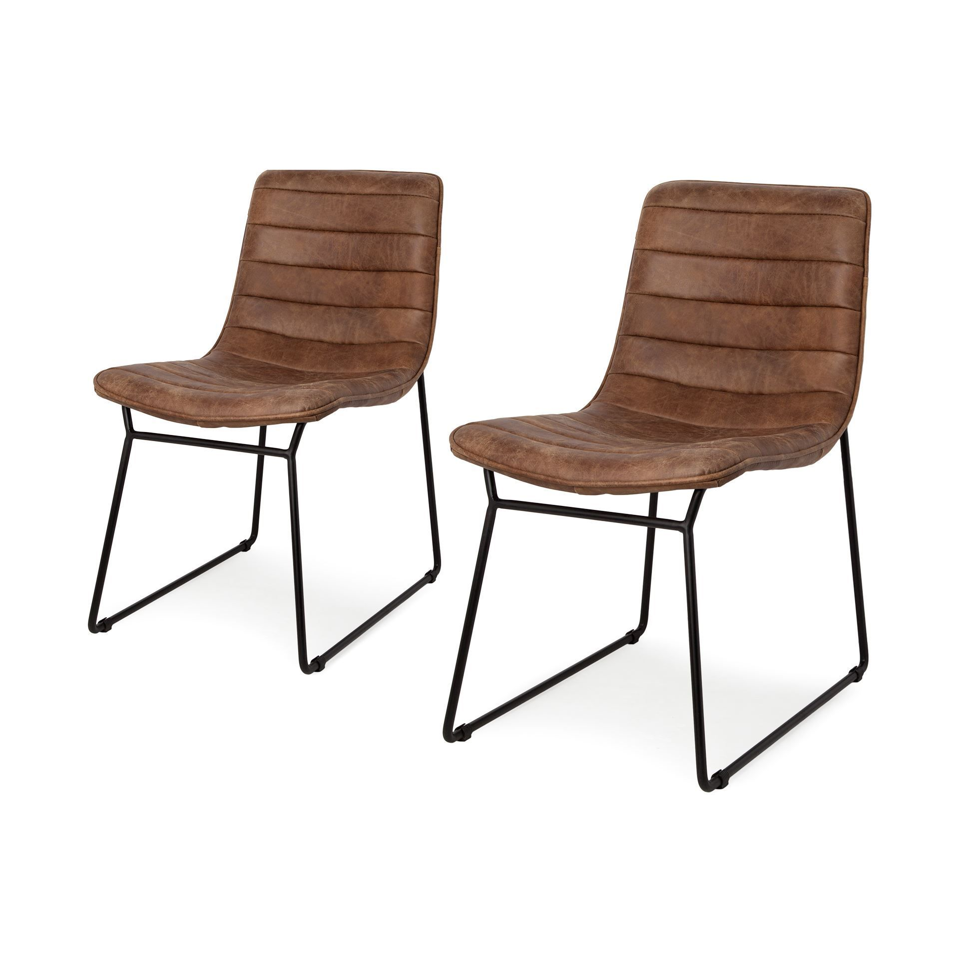 Thornton is a set of 2 dining chairs that have a brown top grain leather