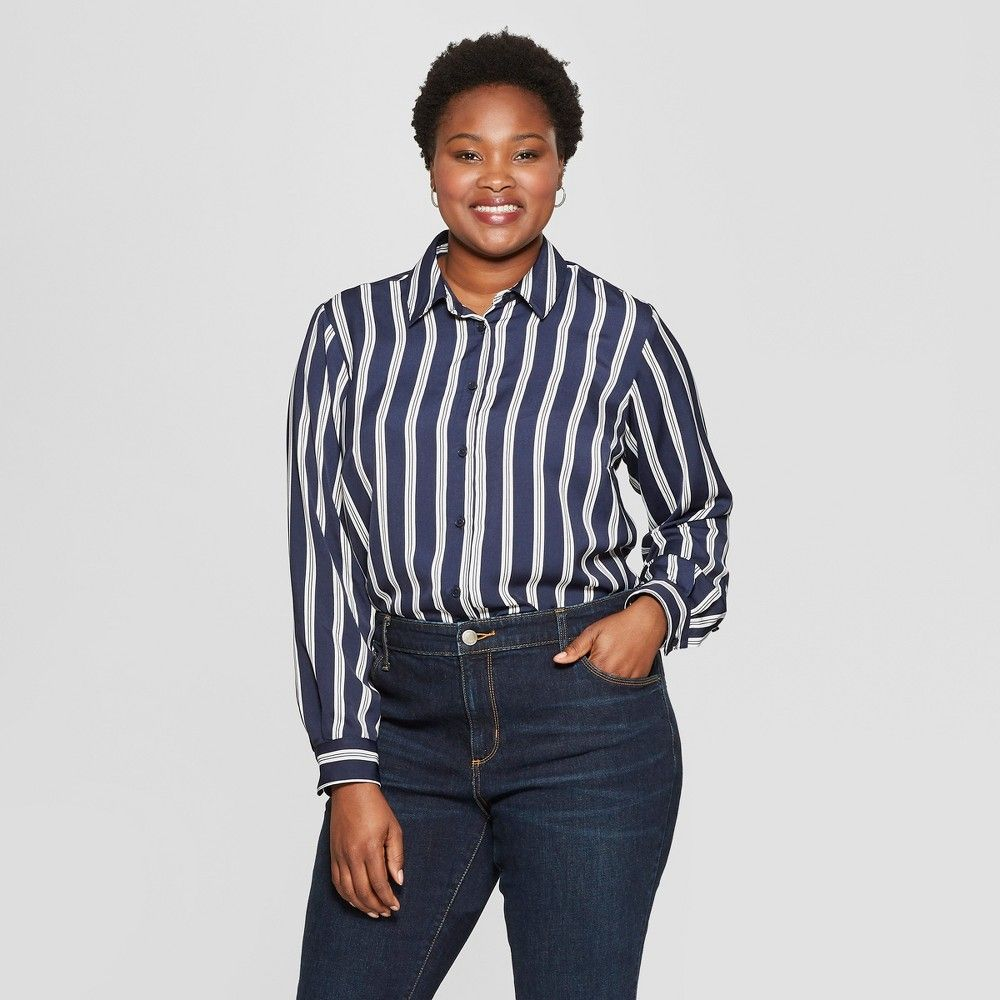 bf520f4f6 Women s Plus Size Striped No Gap Button-Down Long Sleeve Blouse - Ava   Viv  Navy 4X