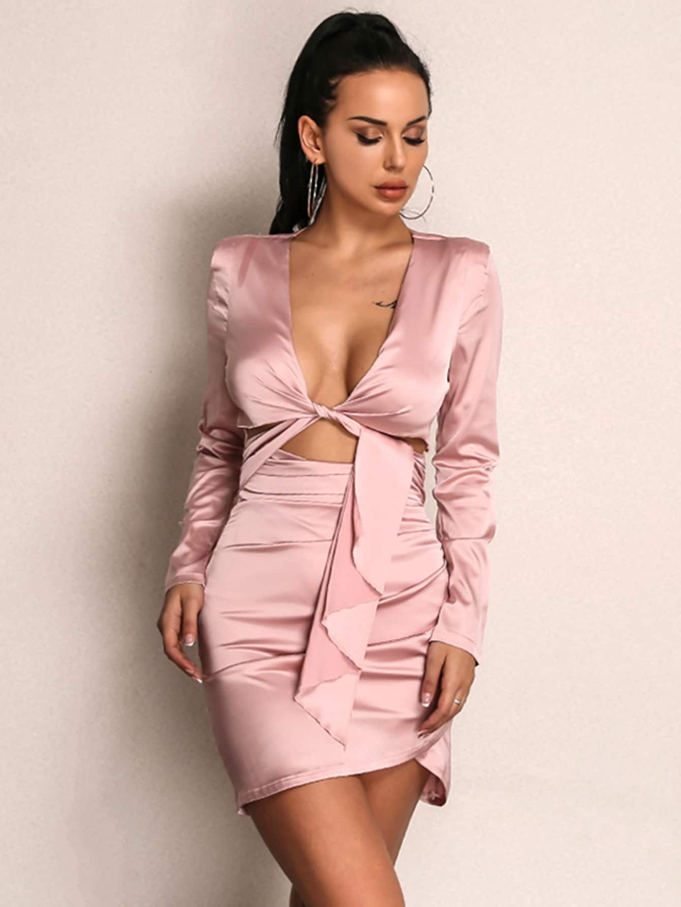 433d94498d Sexy Wrap and Ruched and Knot Plain Bodycon Wrap Deep V Neck Long Sleeve  High Waist Pink Mini Length Knot Front Ruched Wrap Satin Dress