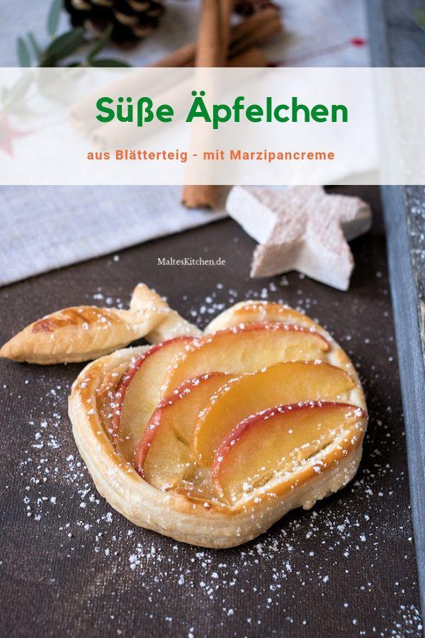 Süße Äpfelchen aus Blätterteig mit Marzipancreme #blätterteigrosenmitapfel
