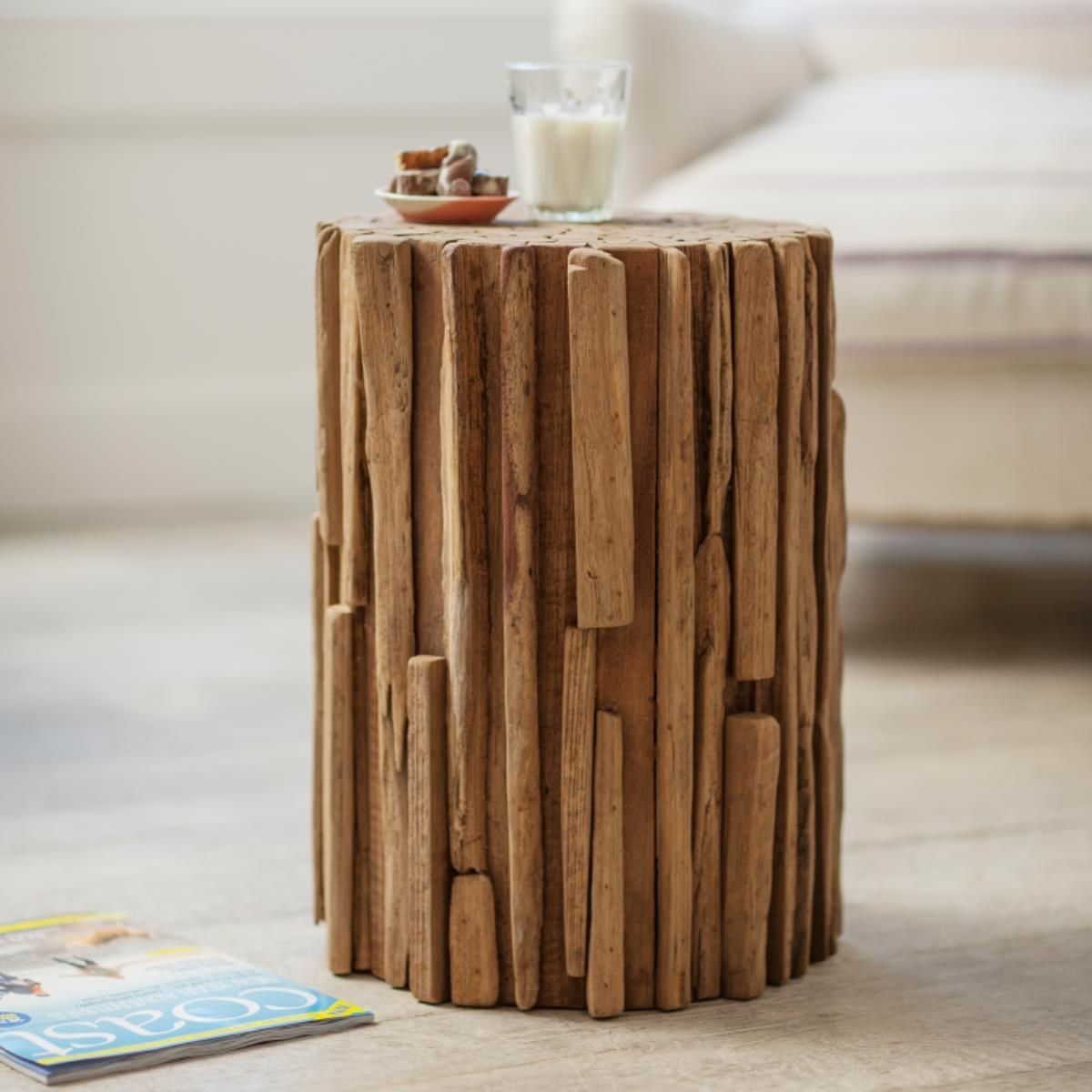 Wonderful Unique Side Table Hand Crafted From Teak Driftwood. Use Also As A Quirky  Lamp Or