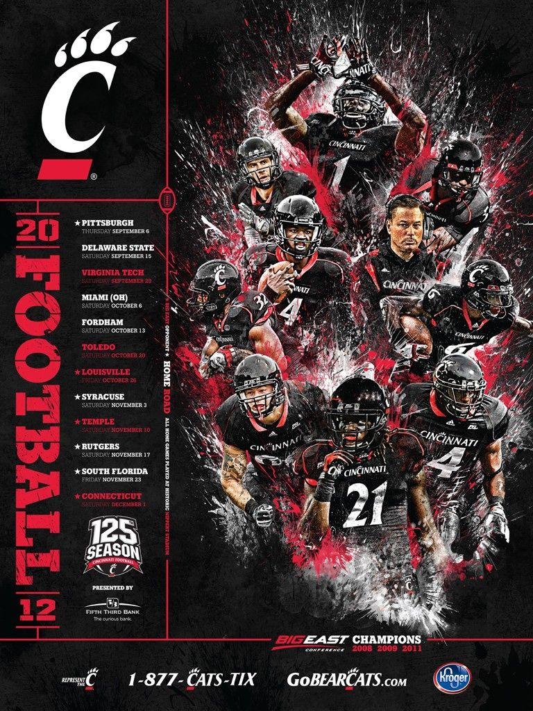 2012 Schedule Posters Sports Logos College Sports Graphics Sport Poster Design Cincinnati Bearcats