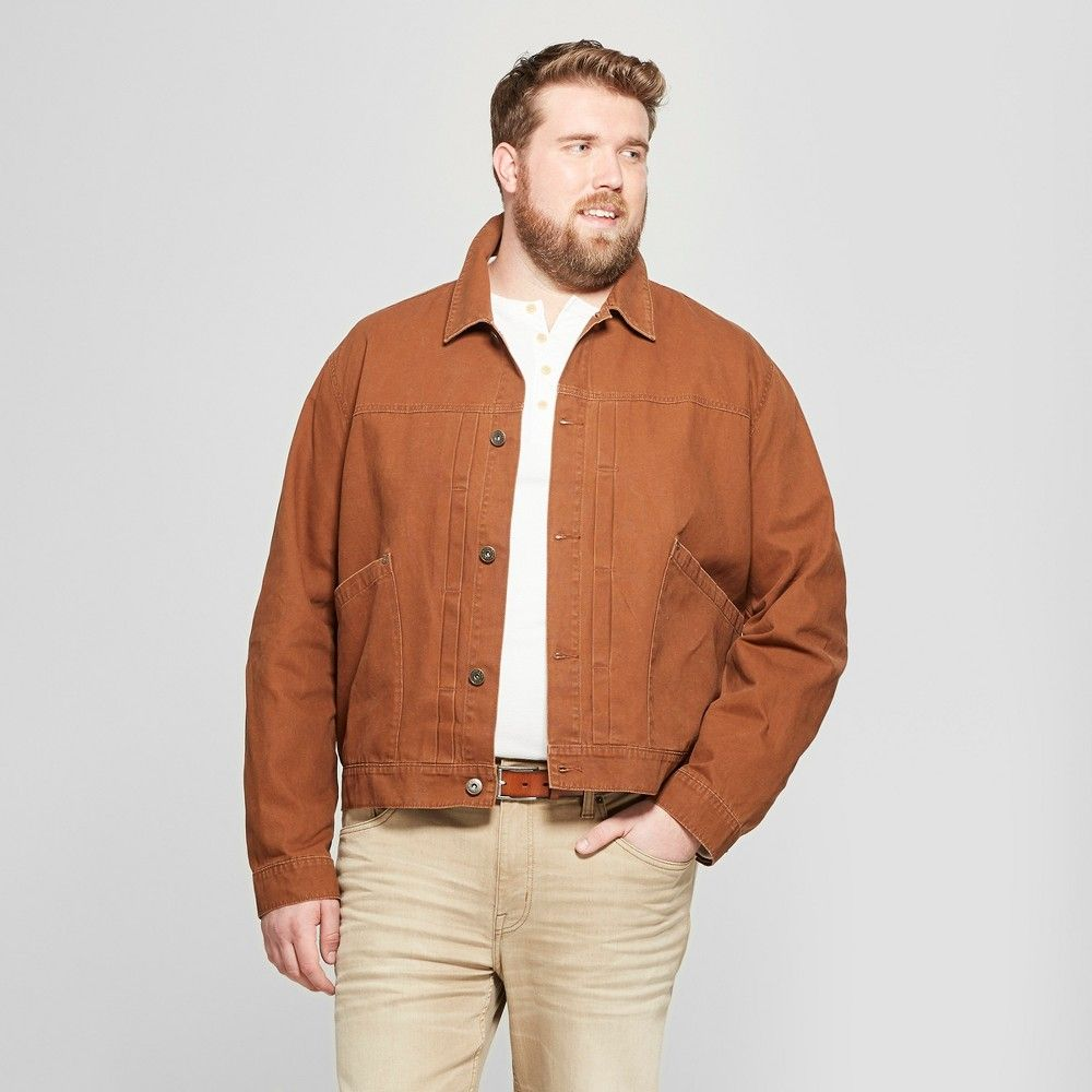 Men S Big Tall Trucker Jean Jacket Goodfellow Co Brown 5xbt Stand Out From The Crowd Of Blue Denim Ja Jean Jacket Men Big Men Fashion Mens Fashion Chinos [ jpg ]