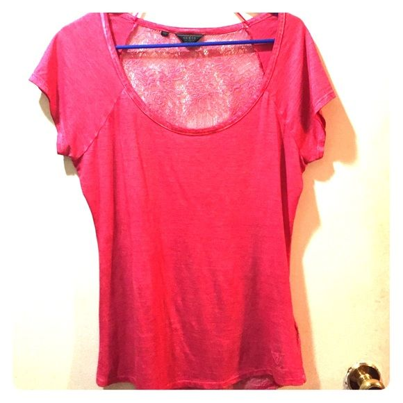 GUESS Lace-Back Top Dark pink lace back shirt in excellent condition. No signs of wear. Guess Tops Tees - Short Sleeve