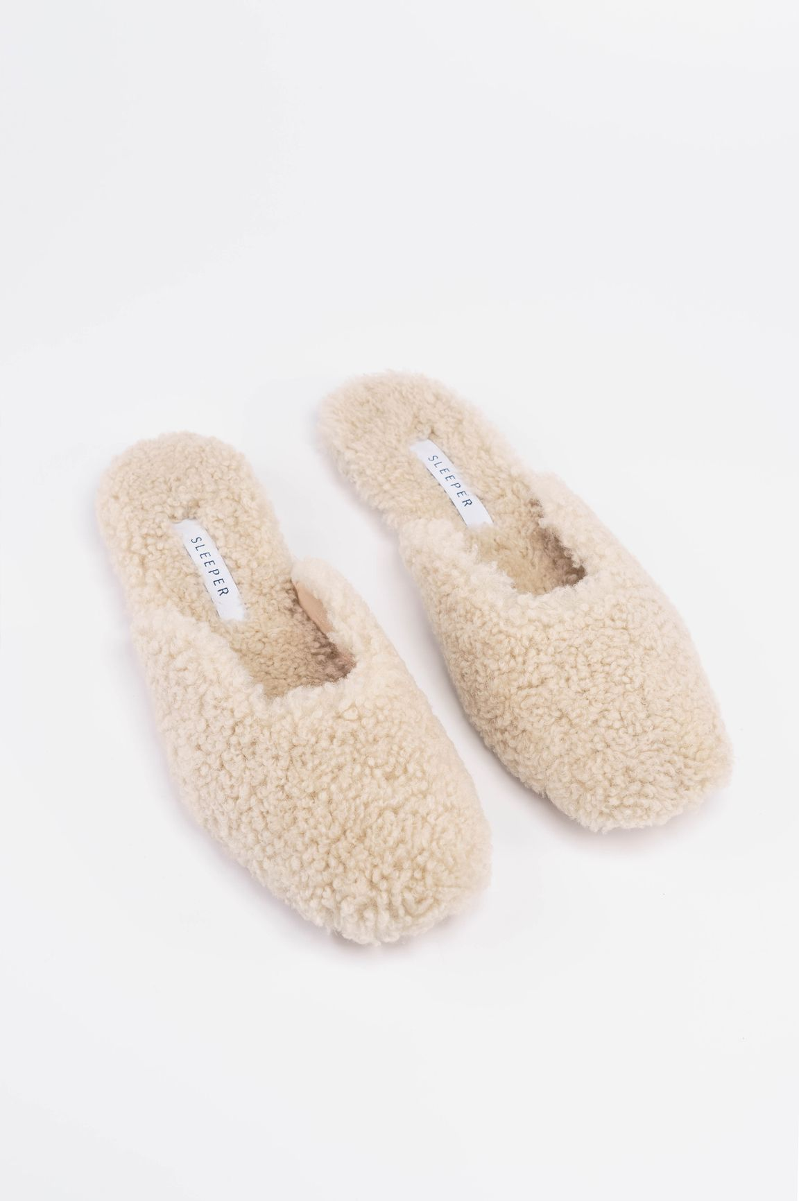 ad23ab285c4e Cream Shearling Slippers – Sleeper | SHOES in 2019 | Shearling ...