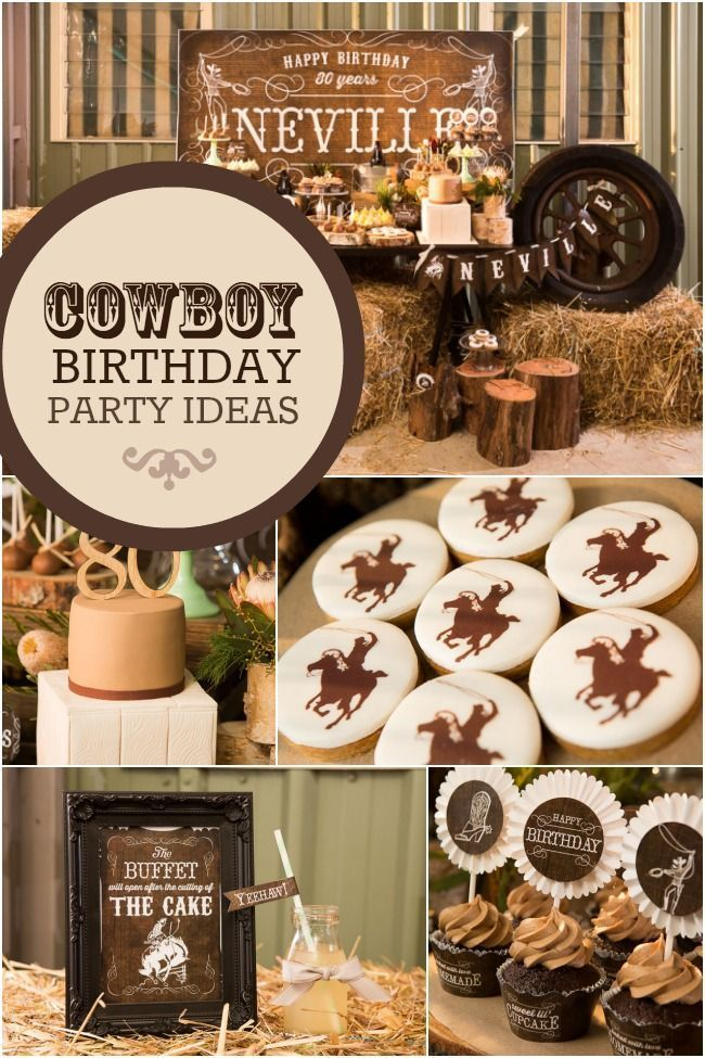 Country and western cowboy themed 80th birthday party for 80th birthday decoration ideas