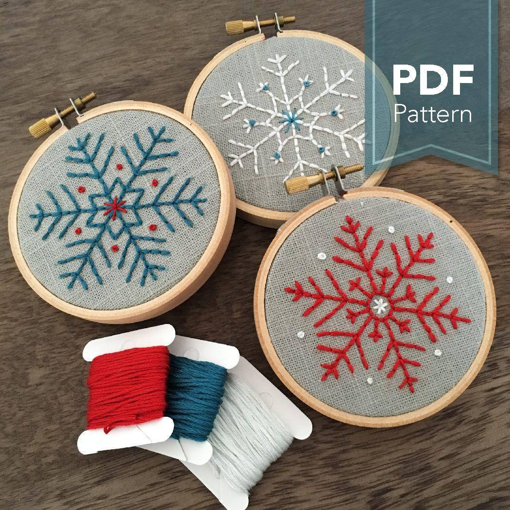 Snowflakes – Modern Embroidery Pattern – Set of 3 Snowflake Designs (PDF Digital Download)