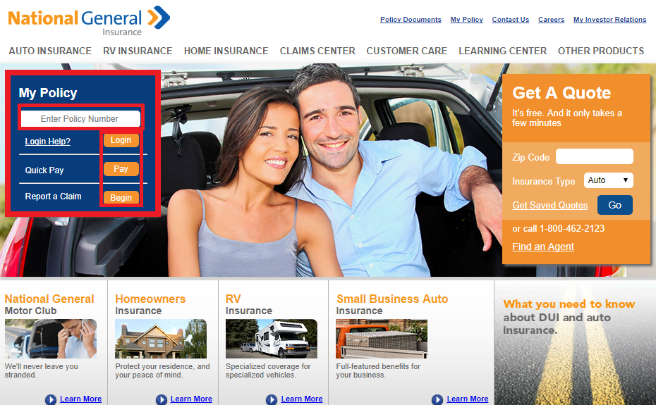 National General Auto Insurance Login Make Payment Claim
