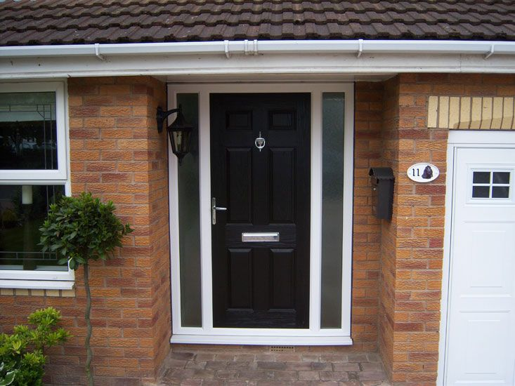 blue composite front door side panels - Google Search | extention ...