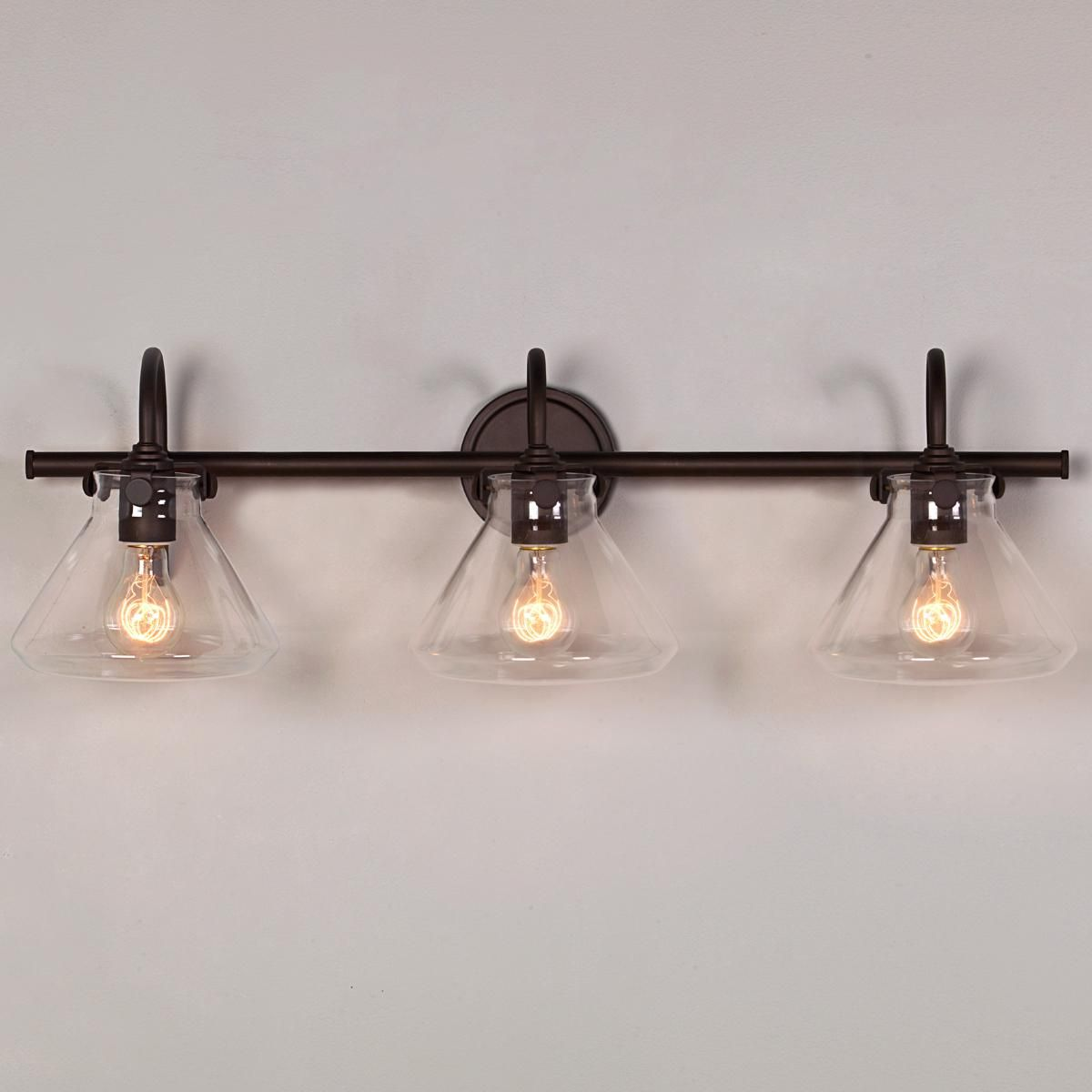 Bathroom Light Fixtures Oil Rubbed Bronze beaker glass bath light - 3 light | bath light, oil rubbed bronze