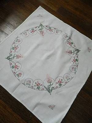 Vintage hand embroidered Irish linen tablecloth - Hyacinths & Pansies