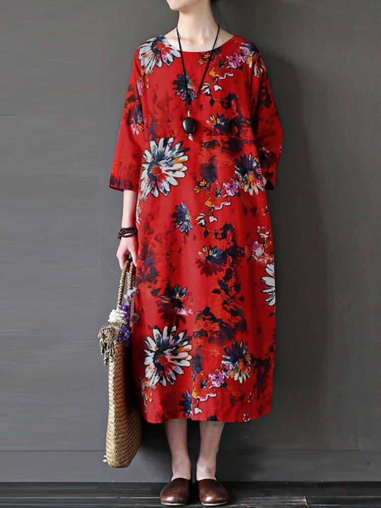 95073feb0b Retro Women Floral Printed 3 4 Sleeve Loose Maxi Dresses With Pocket ...