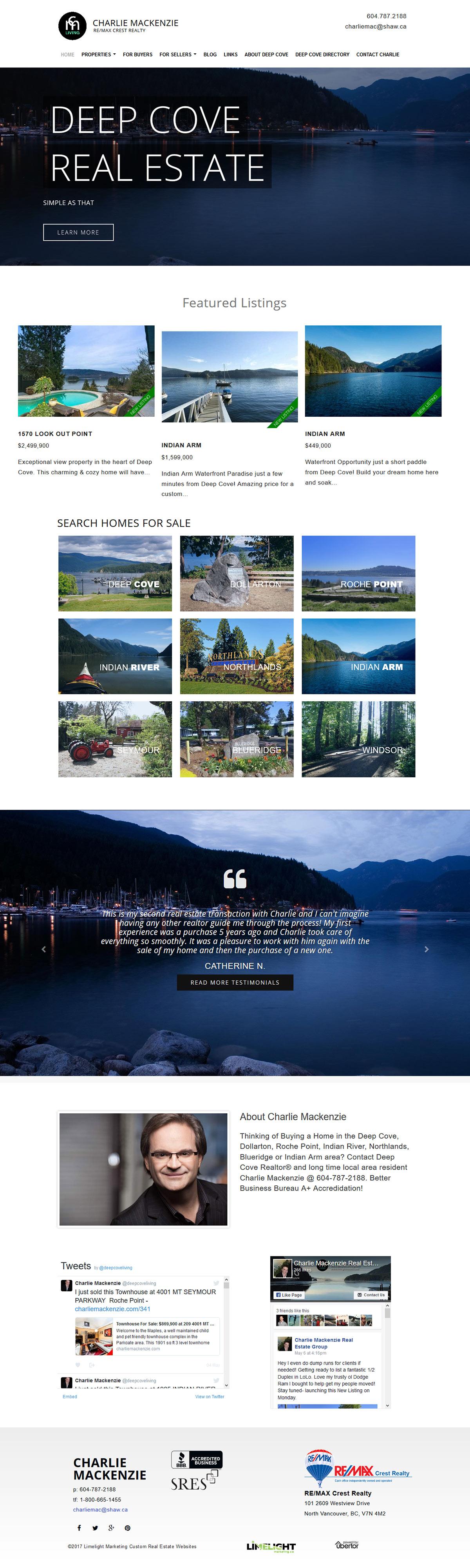 Website Makeover For Deep Cove Realtor Charlie Mackenzie Ubertor Cms Responsive And Mobile Ready Website Inspiration Website Design Custom Design