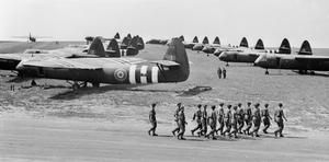 Horsa gliders and troops of the 6th Airborne Division prepare for take off from Harwell, Oxfordshire in the run-up to D-Day.