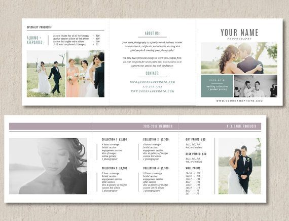 Photo Marketing Trifold Card for Photographers - Product Pricing
